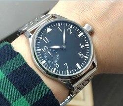 44mm GEERVO black dial Asian 6497 17 jewels Mechanical Hand Wind movement men's watch green luminous Mechanical watches gr286-g8