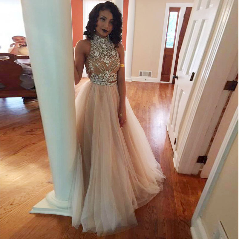 SML 2016 New Two Pieces Crystal Beads Prom Dresses Sexy High Neck Crop Top  Open Back Party Dresses Nude Tulle Long Evening Gowns db05237993b9