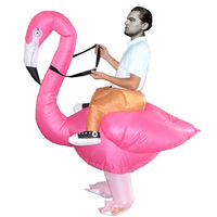 Фламинго надувные костюмы для взрослых ездить на Косплэй костюмы животных нарядное платье на Хэллоуин карнавальный одежда для вечеринки т...