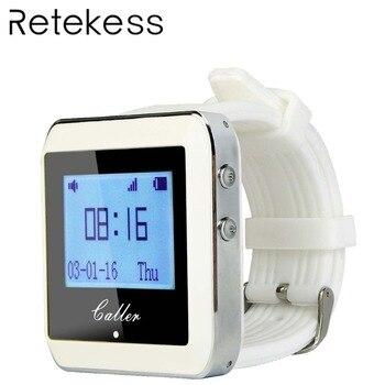 RETEKESS 999 канала РФ беспроводной Белый наручные часы приемник для быстрого еда магазин Ресторан Вызов подкачки системы 433 МГц F3288B