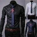 Hot Sale 2016 Cotton New Fashion Men's Shirts Striped Formal Long Sleeve Shirt Men Chemise Homme Camisa Masculina Slim Dress