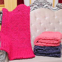 Hand-woven Bed Blankets thick Line Giant Yarn Knitting Blankets Warm Throw  Chunky Knitted Wool 3cd8bac77