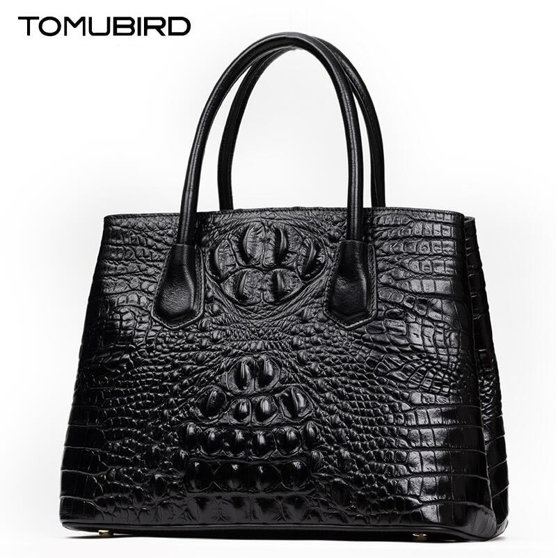 TOMUBIRD new superior cowhide leather Designer Inspired Ladies Crocodile Embossed Tote Handmade Leather Satchel Handbags