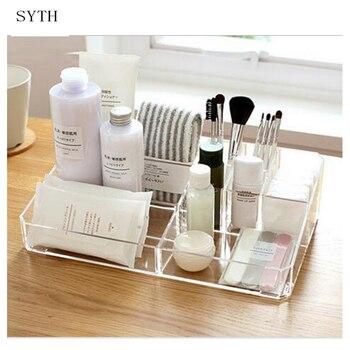 SYTH Creative Clear Acrylic Storage Holder Transparent Stick Cosmetic Makeup Organizer Case Desktop Jewelry Storage Box Women makeup organizer box