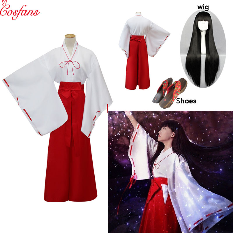 10PCS Inuyasha Kikyou Cosplay Dress Costumes Kikyo Wigs Women Men Japanese Kimono Set Wig Hair Christmas Halloween Gift 2019