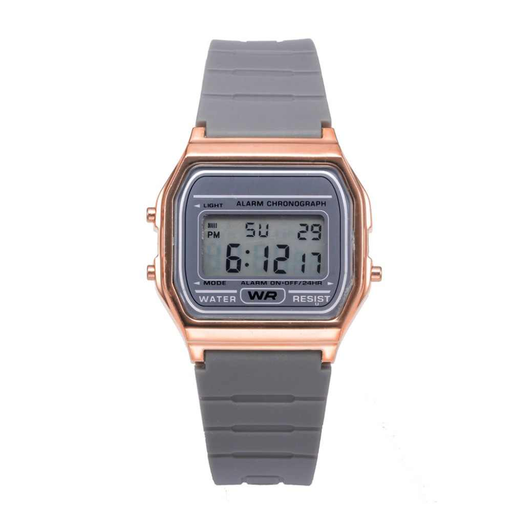Fashion Wanita Watch Elektronik Beberapa Olahraga Jam Tangan Digital Permen Warna Rose Emas Square Dial Tahan Air Montre Femme F3