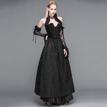 Devil Fashion Gothic Style Women Sexy Strapless Dress Steampunk Black Floral Pattern Lace Collar Dress Backless Long Dresses