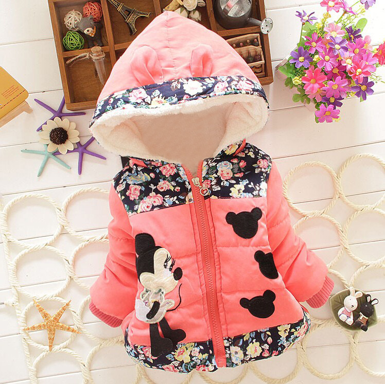 Big Size Baby Girls Jackets 2017 Autumn Winter Jacket For Girls Winter Minnie Coat Kids Clothes Children Warm Outerwear Coats