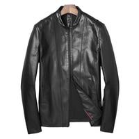 genuine goat leather male jacket formal real goat skin Outwear Gentlemen leather breif autumn black leather jacket 4XL