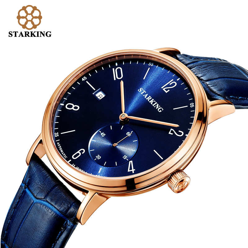 STARKING Luxury Men Automatic Mechanical Watch Self-Wind Auto Date Skeleton Elegant Blue Leather Strap Wrist Watch Male AM0198 цена и фото