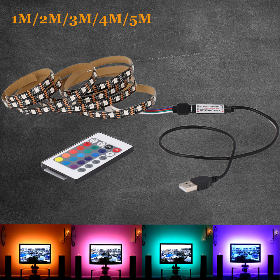 DC 5V RGB Flexible USB led strip light 5050 SMD sting Ribbon Adhesive tape 1m 2m 3m 4m 5m TV Background lighting