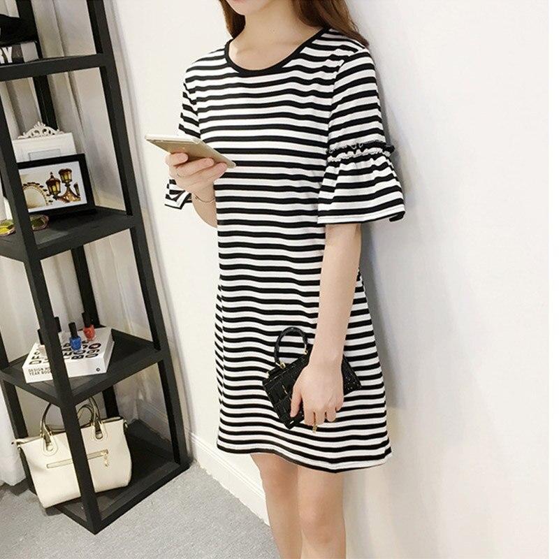 Women Striped Flare Sleeve Dress Elegant Short-Sleeved Slim Striaght Dress H6