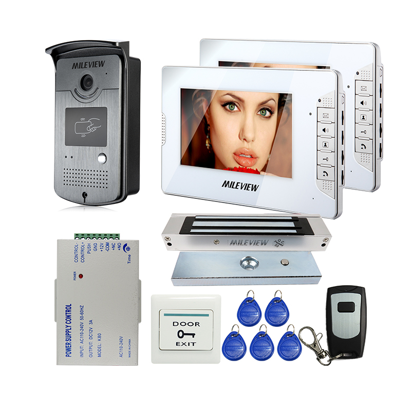FREE SHIPPING 7 Color Screen Video Door Phone Intercom System 2 White Monitors + RFID Access Doorbell Camera + Magnetic Lock new 7 color video door phone intercom system 2 white monitors 1 waterproof rfid access camera electric lock free shipping