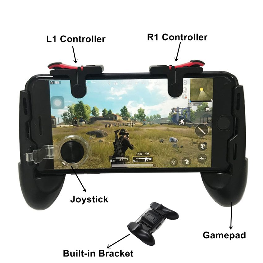4 in 1 Free Fire PUBG Controller Gamepad Trigger Button Aim Key Buttons Smartphone Games L1 R1 Shooter Gamepads For iPhone ISO