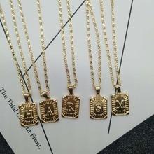 Rongho Бренд Винтаж Металлические Буквы Чокеры ожерелья для женщин Золотой квадратный металлический кулон ожерелье ручной работы цепи ожерелье