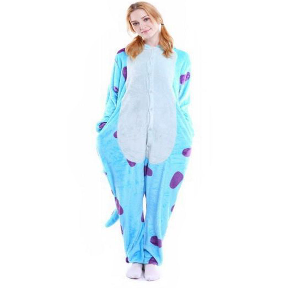 Ouyitaomee Cartoon Animal Blue Calf Conjoined pajamas Woolen Lovers Home Clothes Full Sleeves Suits Free Shipping