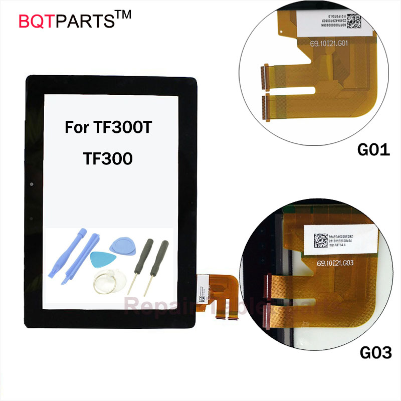 BQT Touch screen repair For Asus Transformer Pad TF300T TF300 Version G01 G03 Black digitizer touch screen Glass Free tools new for asus eee pad transformer prime tf201 version 1 0 touch screen glass digitizer panel tools v1 0