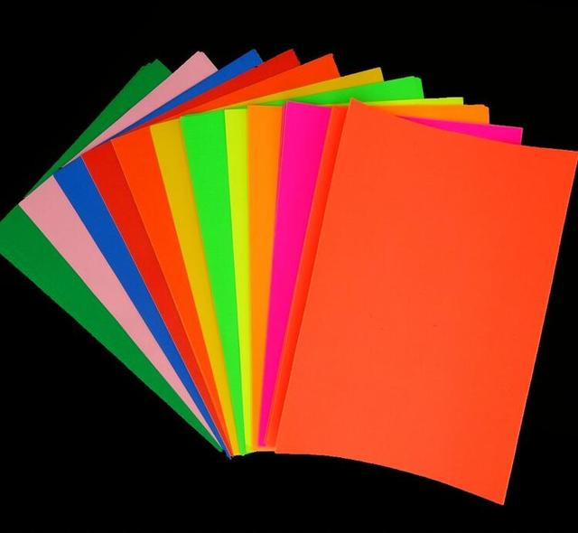 50 sheets lot fluorescent color stickers puncher paper self adhesive