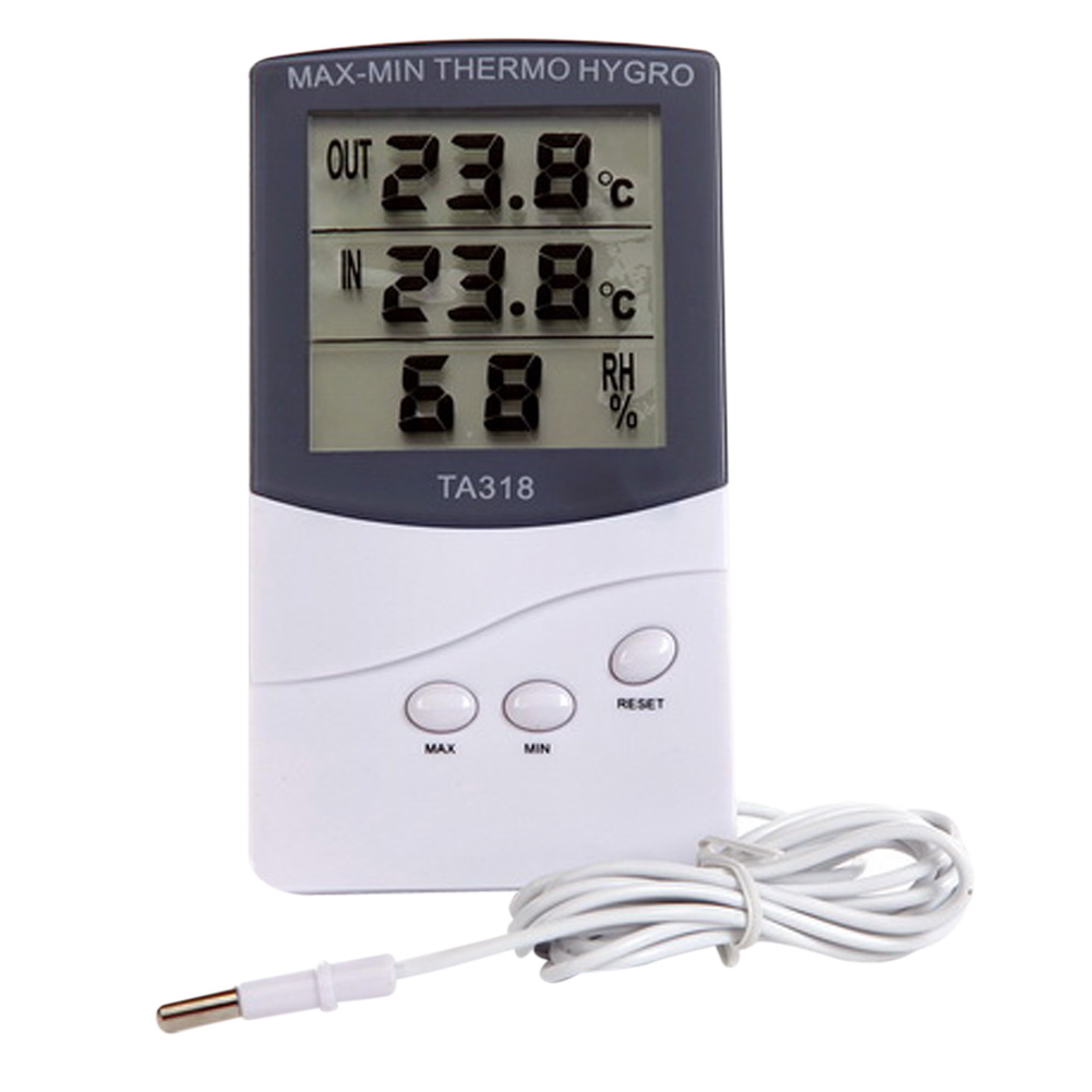 Digital LCD Thermometer Hygrometer Electronic Temperature Humidity Meter Weather Station Indoor Outdoor Tester Alarm Clock 1 9 mini digital lcd indoor outdoor thermometer with clock 50 70 c 1 lr44