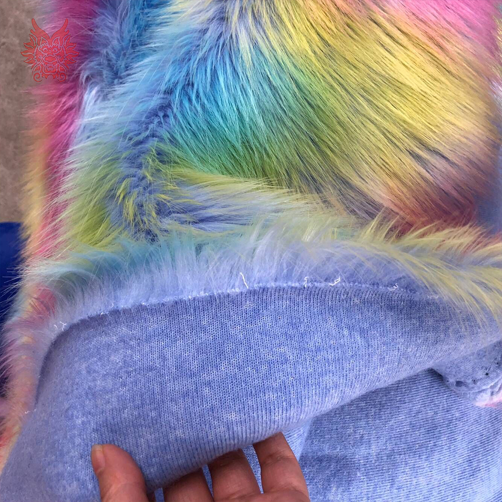 Coréen arc-en-ciel style cosplay 4cm longue fausse fourrure tissu coloré pour manteau décoratif tapis fausse fourrure tissu pelliccia SP5780 - 4