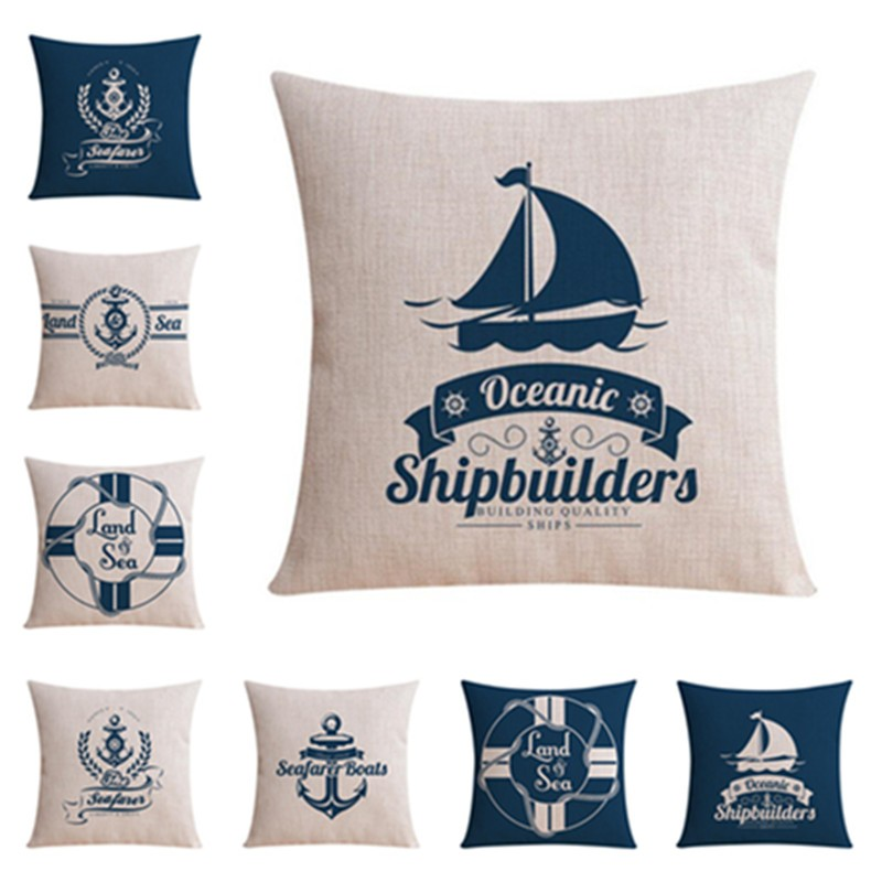 High Quality Home Decor Sofa Throw Pillow Western Style Sailing Boat Cushion Cover Square Printed Cojines Cotton Linen Almofadas