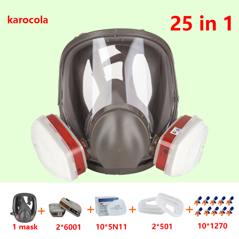 25 in 1 6800 Gas Mask Full Face Facepiece Respirator mask For Painting Spraying 6001 filter anti-dust chemical gas 1270 Earplugs 7 in 1 7502 half face mask dust gas chemical respirator dual filter for spraying painting organic vapor chemical gas safety