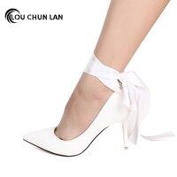 LOUCHUNLAN Shoes Women's Shoes Women's Pumps Ribbon High Heels bridesmaid Shoes White Wedding Shoes butterfly large Size 40 47