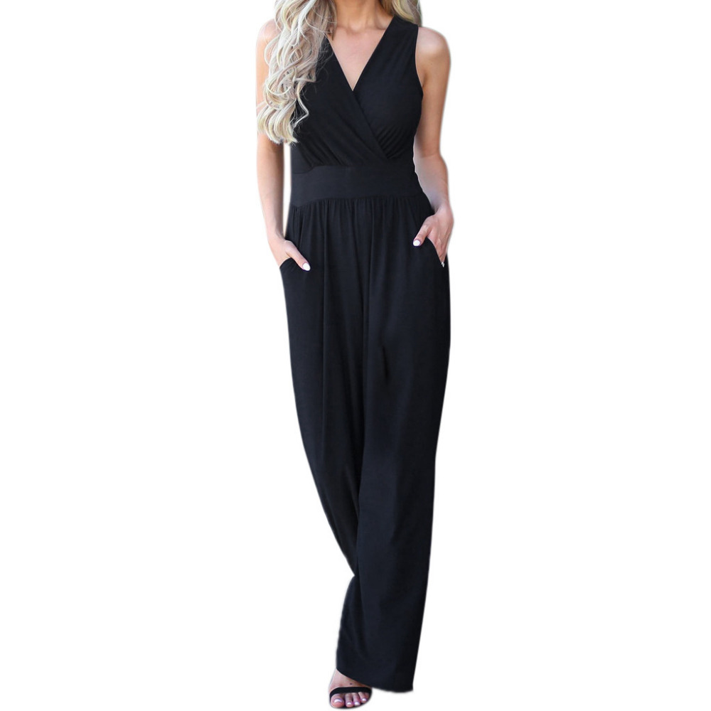 FREE OSTRICH Women hanging bandwidth loose sexy backless   jumpsuit   casual V-neck solid color stretch long waist wide leg   jumpsuit