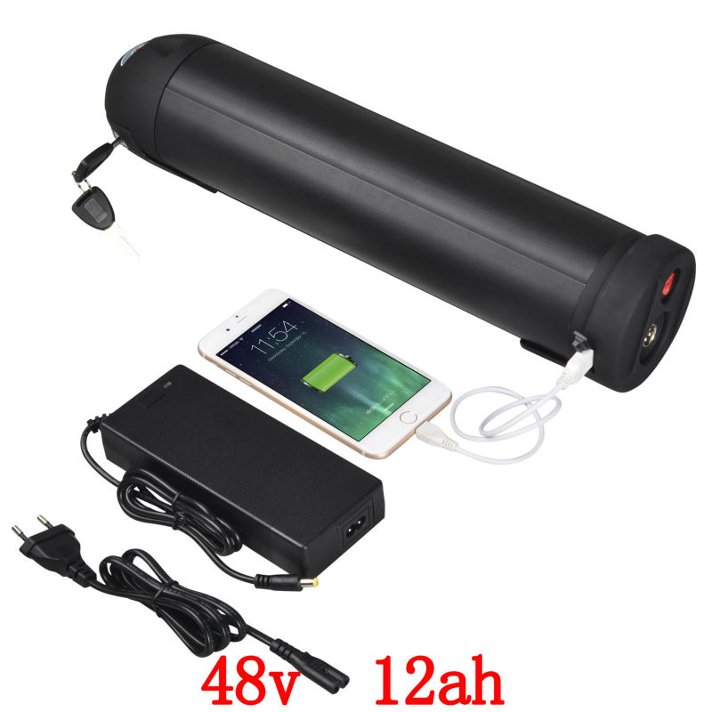 EU US no tax 700W 48V black Bottle battery 48V 12AH Electric Bike Lithium Battery use for samsung 3000mah cell with BMS  ChargerEU US no tax 700W 48V black Bottle battery 48V 12AH Electric Bike Lithium Battery use for samsung 3000mah cell with BMS  Charger