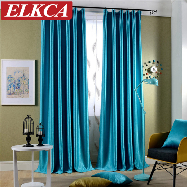 Sparkle Blue Blackout Curtains For Living Room Flocked Modern The Bedroom Thick