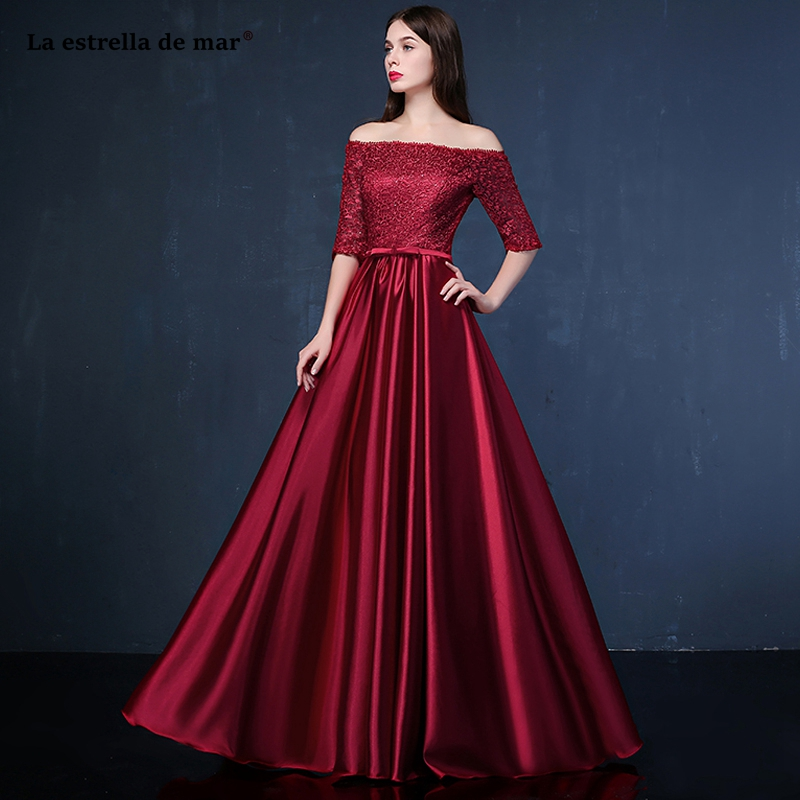 Vestido madrinha 2019 New Boat Neckline Lace 3/4 Sleeve Floor-Length burgundy Purple Royal Blue Silver White   bridesmaid     dresses