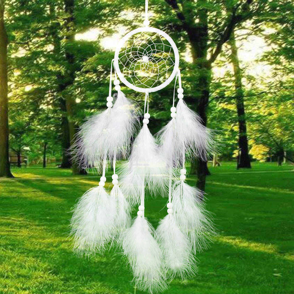 bells wind chimes retro dreamcatcher ring Feather hanging mini dream catchers white diy Craft attrape reves dream catcher car