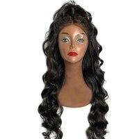 Eseewigs свободная волна 180 плотность 360 синтетический фронтальный парик предварительно сорвал с волосами младенца черные женские бразильские