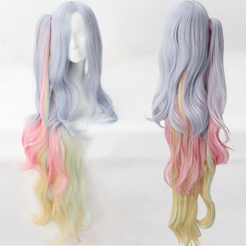 NO GAME NO LIFE Shiro Cosplay Wig Long Curly Wavy Synthetic Hair Anime Costume Party Blue Pink Yellow Mix Clip Ponytail + Cap