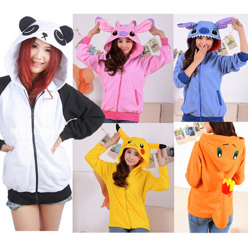 Unicorn Pokemon Umbreon fleece hood hoodie Costume Pikachu stitch firedragon Animals panda Sweatshirts Hooded Hoodies