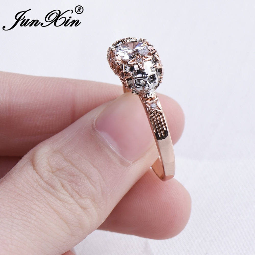 Black Skull Ring Silver Color Fashion Wedding & Engagement Crystal ...