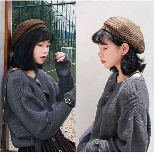 Новый стиль, винтажный головной убор в клетку, женский зимний теплый берет, шапка, уличная Женская мода, французские береты Tam, мягкая шапка, теплая шапка