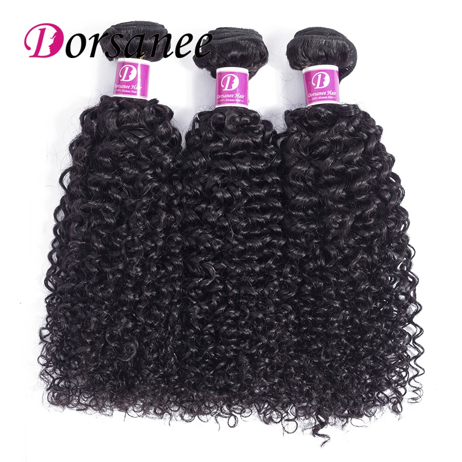Dorsanee Afro Kinky Curly Weave Human Hair 3 Bundles Natural Black Indian Hair Weave Bundles 10-26 Non-remy Hair