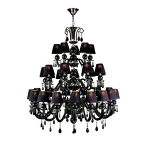Home Lighting Decorative Back Iron Candle Chandelier Crystal Contemporary Black Chandelier Modern black Candle Chandelier Lights
