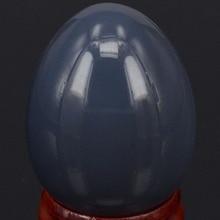 34x44 мм натуральный серый Агат Сфера яйцо Исцеление Рейки ремесла камень массаж палец упражнения