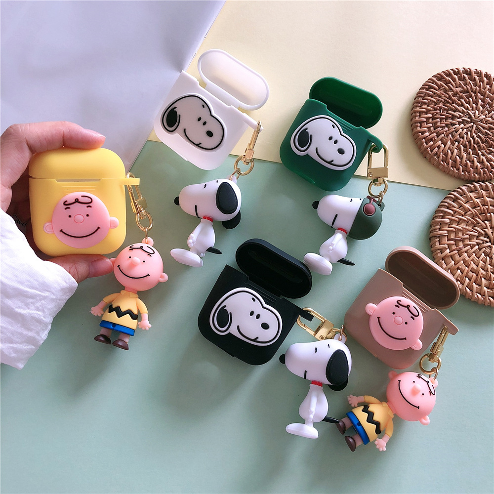 Japan Korea Cartoon Charlie Brown Dog Silicone Bluetooth Wireless Earphone Case For AirPods 1 2 Headset cute cover