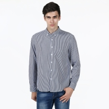New Classic Slim Fit Grey Striped 100% Cotton High Quality Casual Shirt Men's Social Dress Shirt Full Sleeve Turn Down Collar