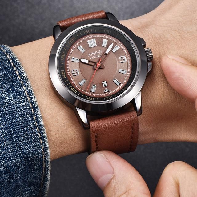 68276a5ec66 ... Relógios Dos Homens Marca de Couro Calendário de Quartzo Presentes  Relógios De Pulso Homens Esportes Militar Do Exército Estilo Do Relógio Do  Vintage