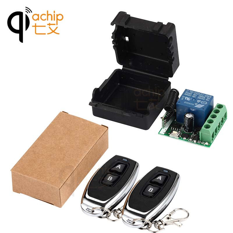 цена на QIACHIP 433Mhz Universal Wireless Remote Control Switch DC 12V 1CH relay Receiver Module and 2pcs RF Transmitter Remote Controls