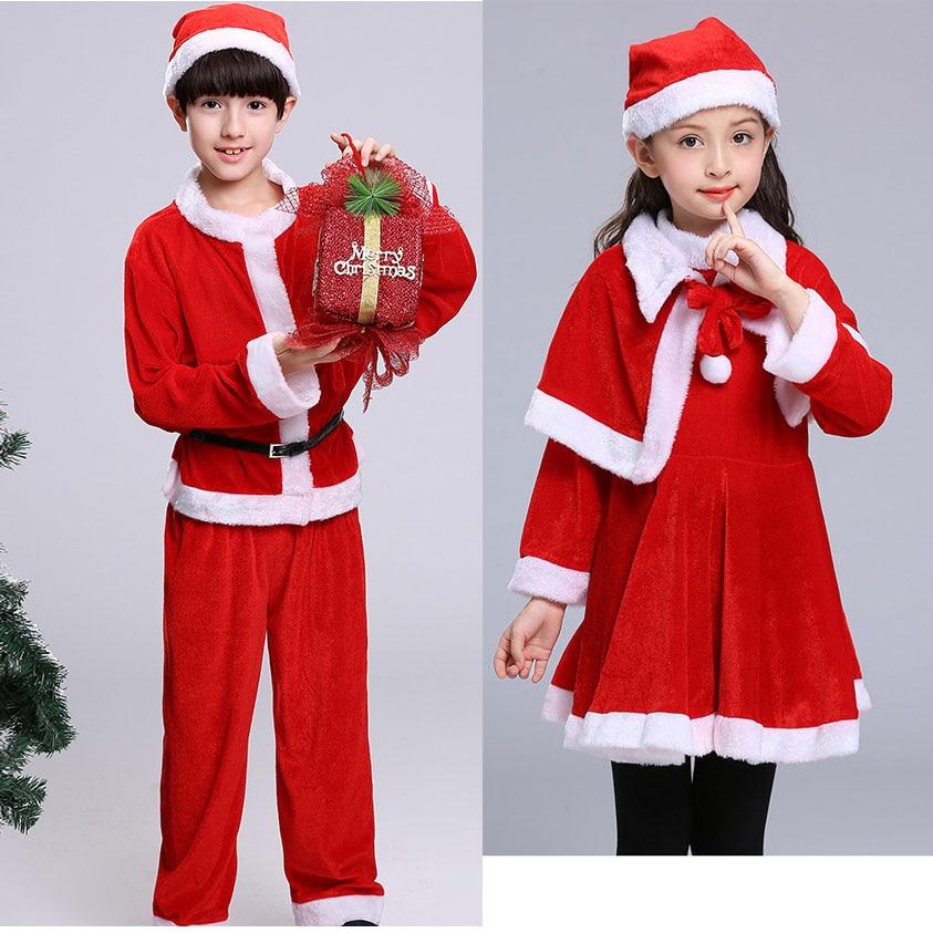 Toddler Boy Winter Clothing Set Santa Claus Costumes Girls Dress Long Sleeve 2/3pcs Velvet Red Christmas Dresses for Girls