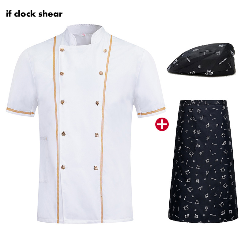 Unisex Chef Restaurant Uniforms Short Sleeve Kitchen Work Clothes White Breathable Catering Cook Jacket + Hat + Apron Wholesale