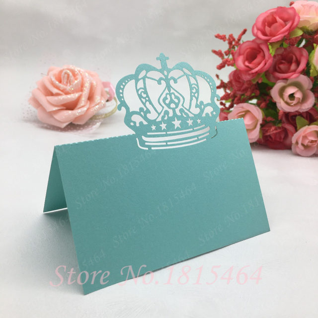 Online Shop 50pcs Laser Cut Crown Place Name Cards Number Cards