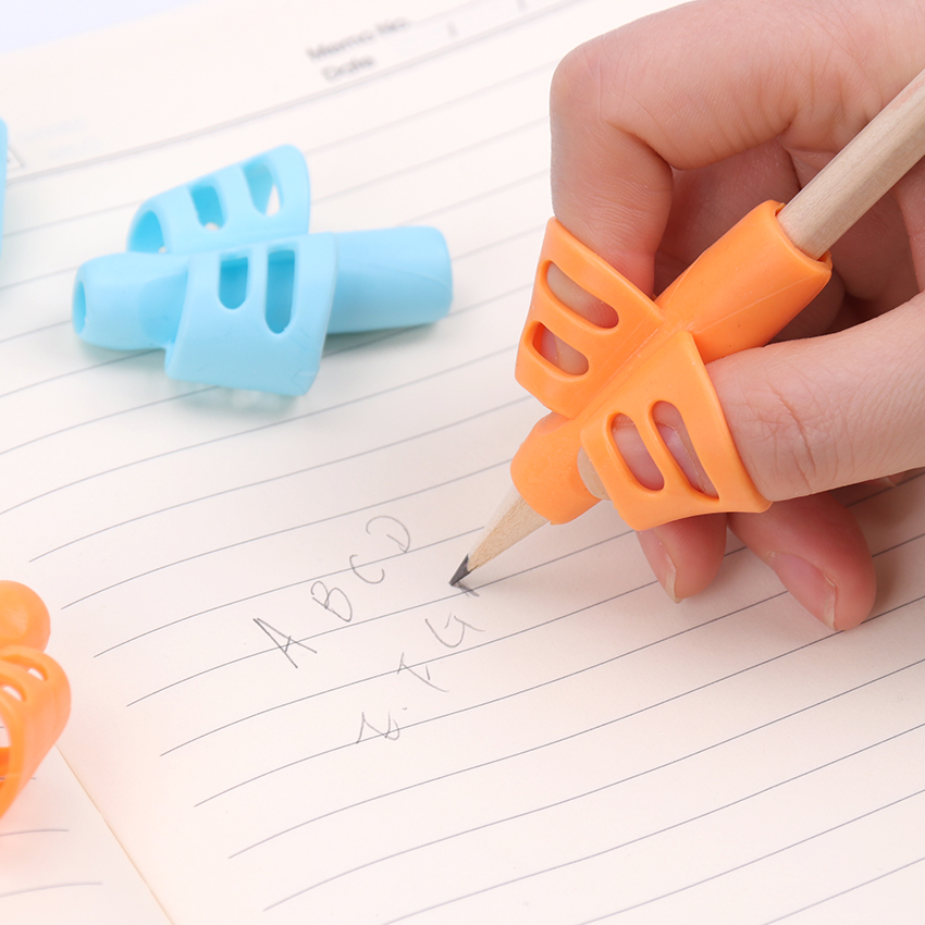 Two Finger Grip Silicone Baby Learning Writing Tool Writing Correction Device Pencil Practice Writing Children Stationery 3PCS