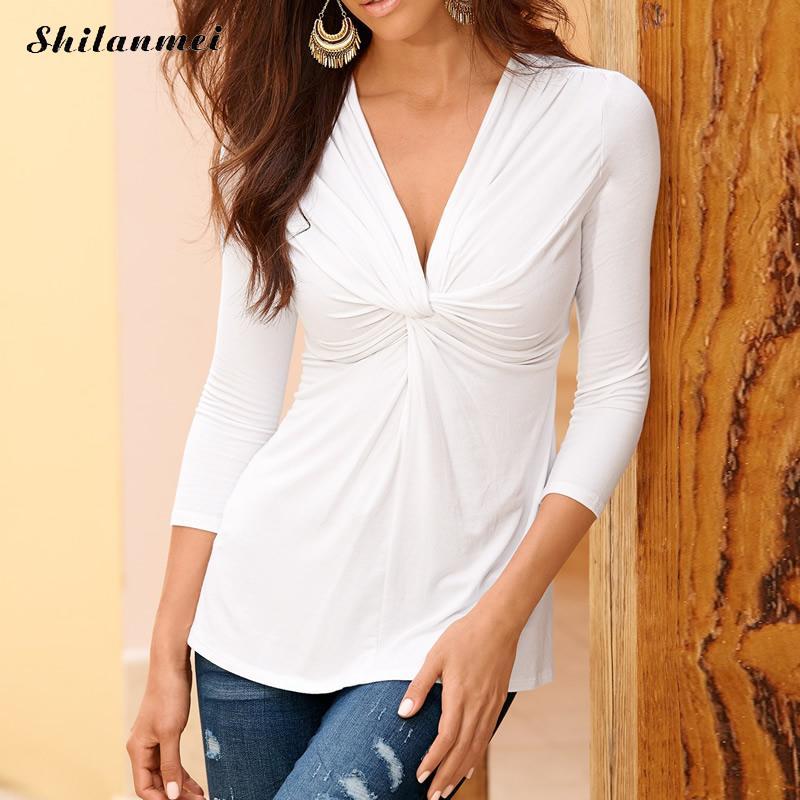 2018 Spring Woman ruffles   blouse     Shirt   Sexy black white yellow Slim Gothic elegant   Blouse   V neck Work office wear plus size XL