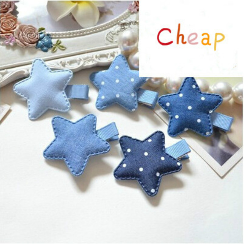 2Pcs Baby Denim Fabric Cloth Star Shape Kids Hairpin With Gold Mini Stars Korean Hair Girls Hair Barrette Hair Clip